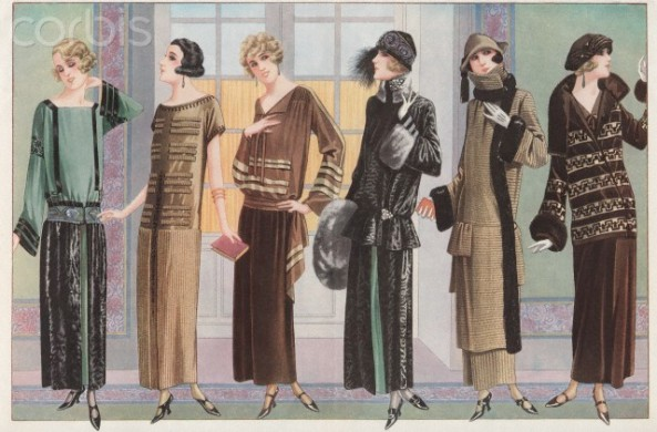 Women modeling 1920's French fashion
