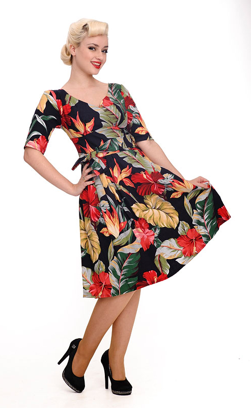 hawaii print dress